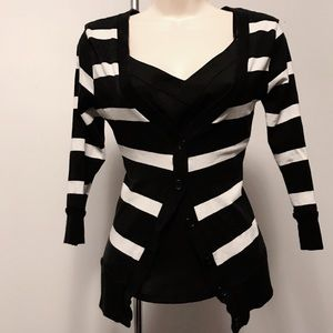Sweaters - Black & White striped cardigan